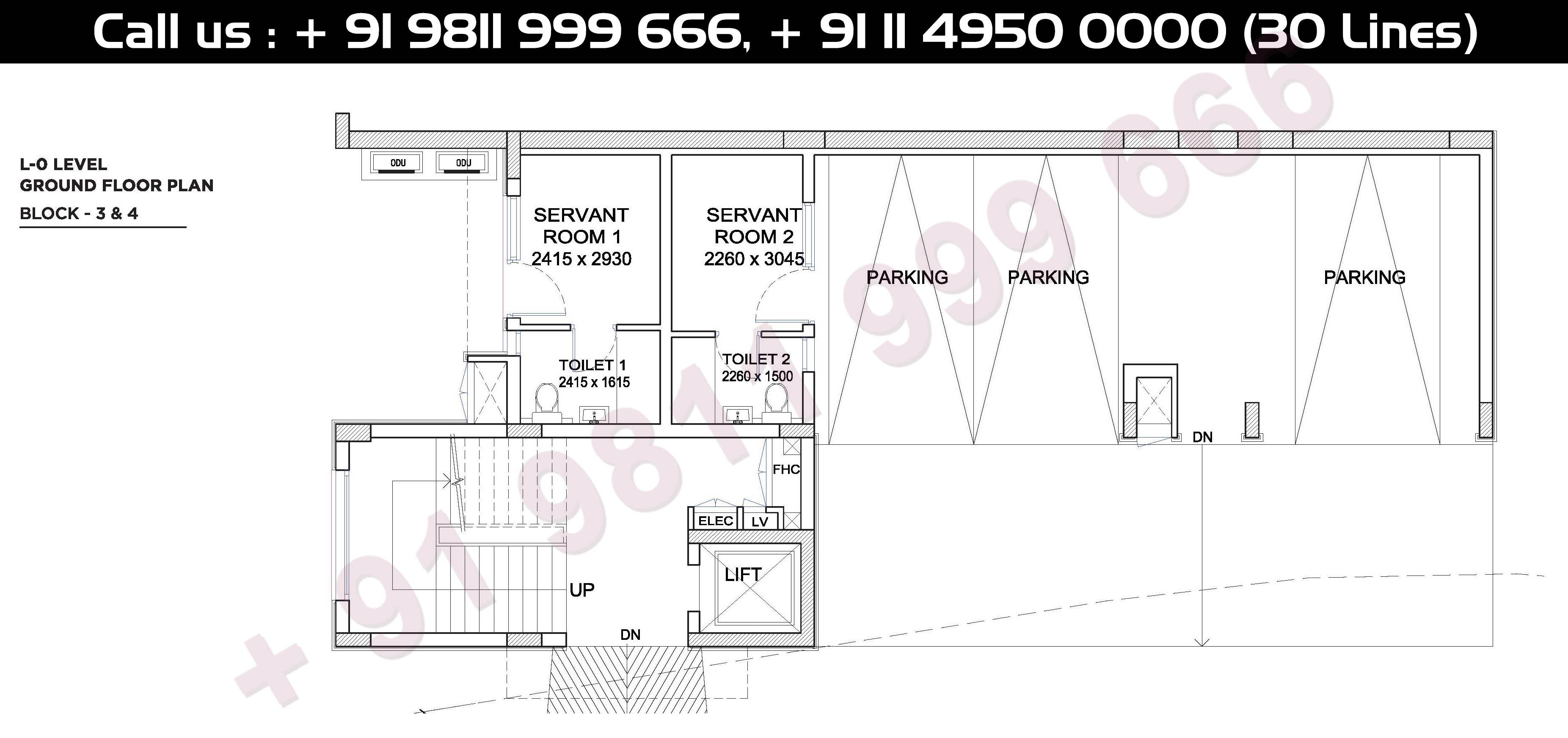 Ground Floor Plan, Block - 3 & 4, Level - 0