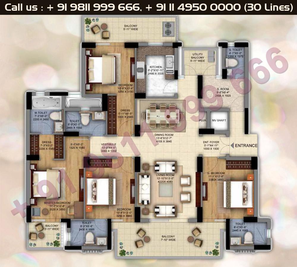 Tower B,C,D,F,G,H,J 4 BHK + S Room Floor Plan