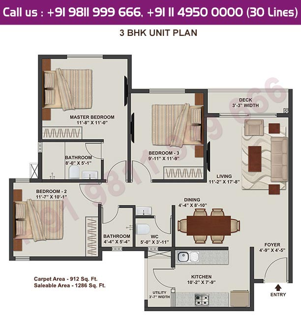 3 BHK Typical Floor Plan : 1286 Sq.Ft.