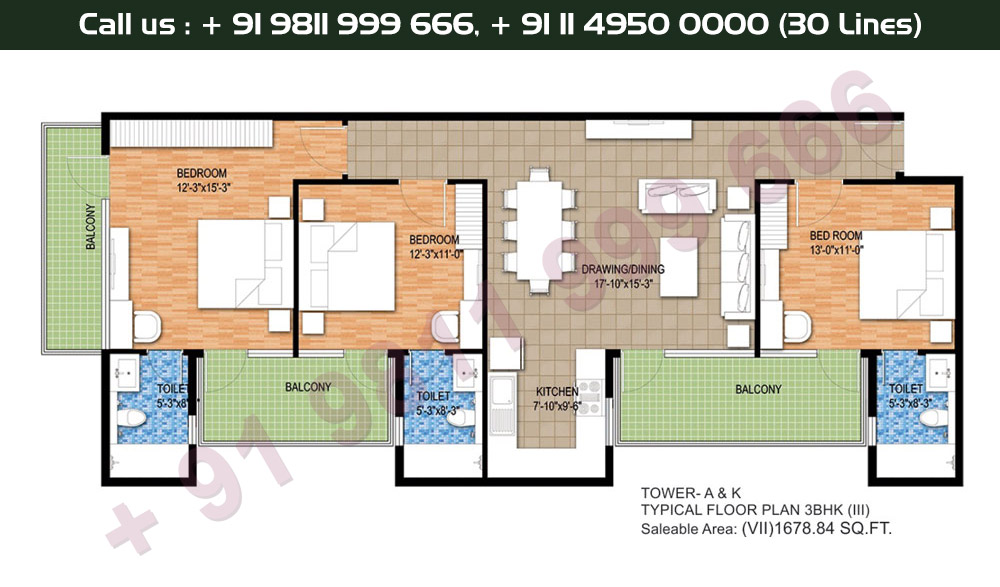 Tower A & K, Typical Floor Plan, 3 BHK Type 3 & 7: 1678 Sq.Ft.