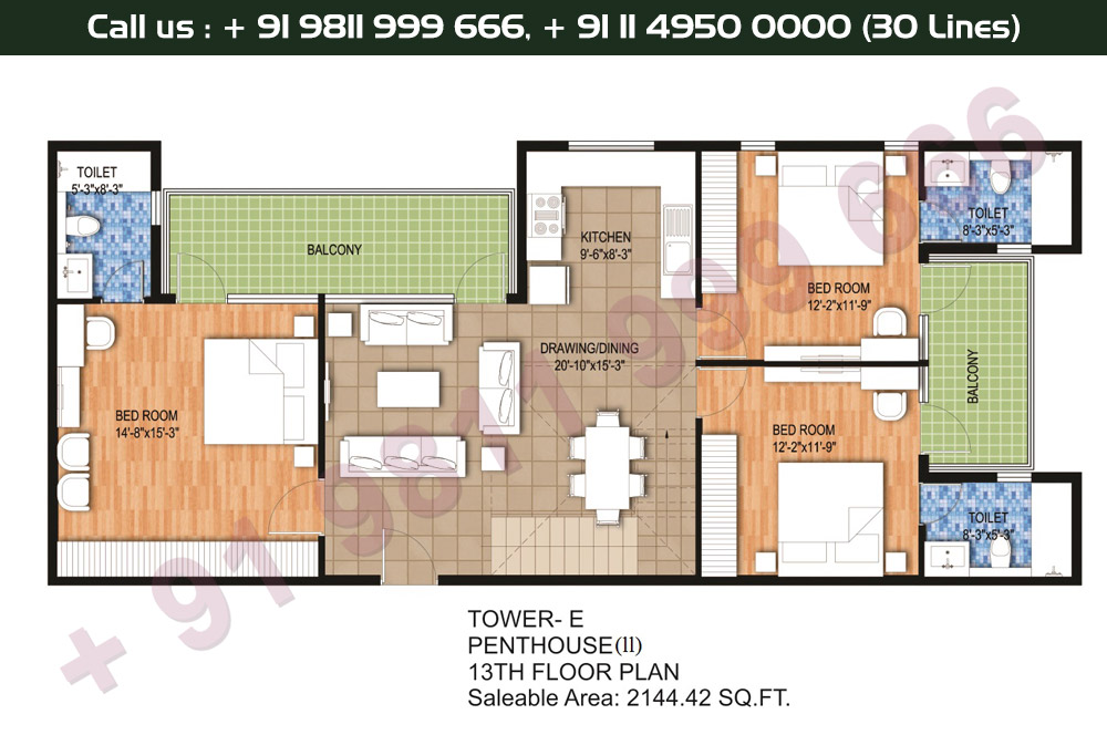Tower E, 13th Floor, 3 BHK Type 2: 2144 Sq.Ft.