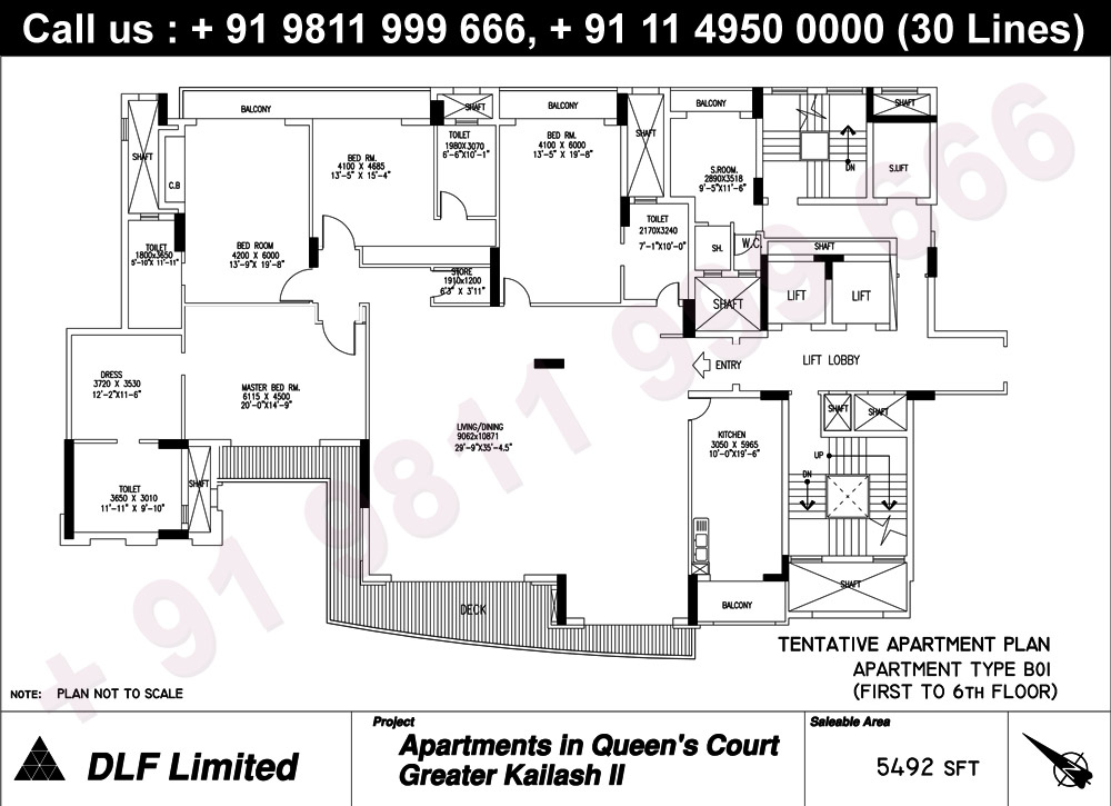 Apartment Type B01 (1st to 6th Floor) : 5492 Sq.Ft.