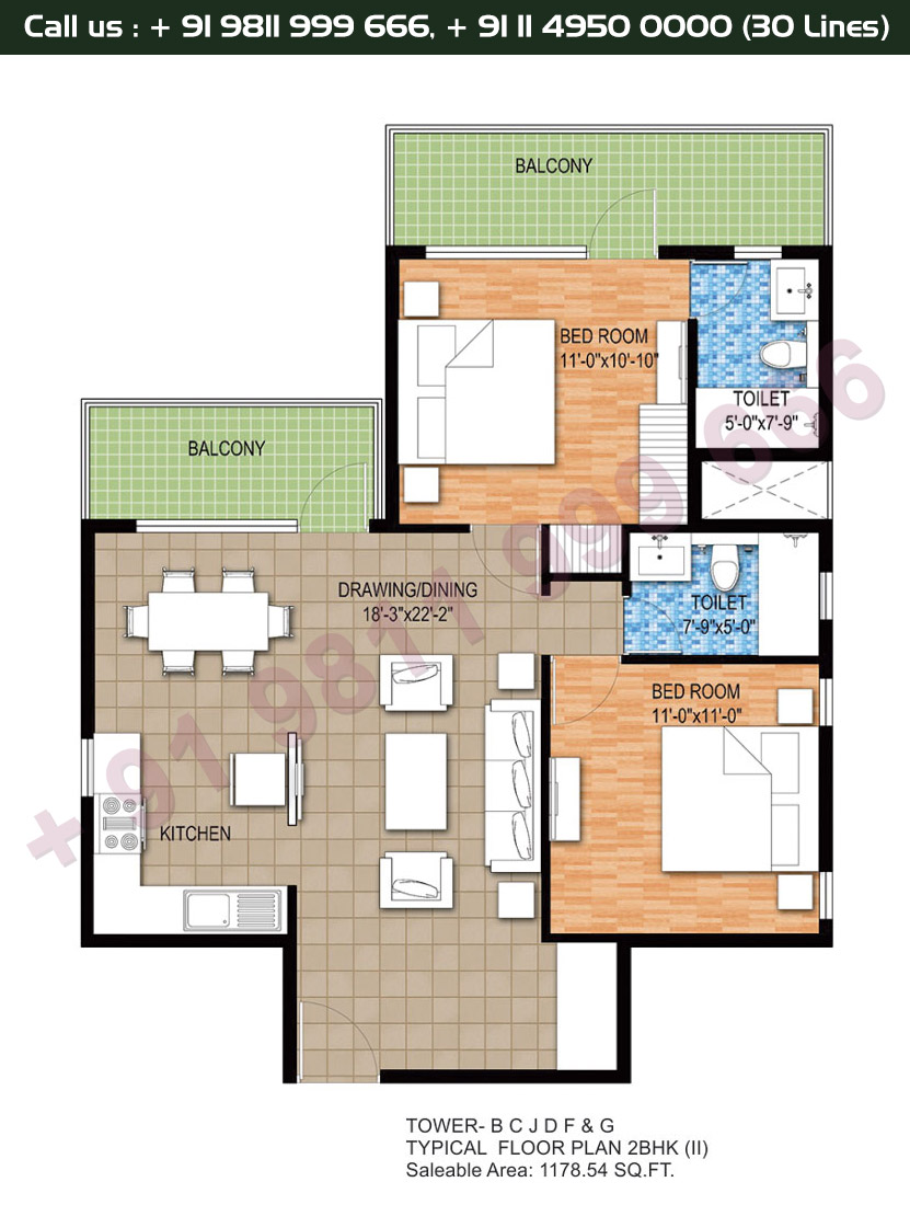 Tower B, C, J, D, F & G, Typical Floor Plan, 2 BHK Type 2: 1178 Sq.Ft.