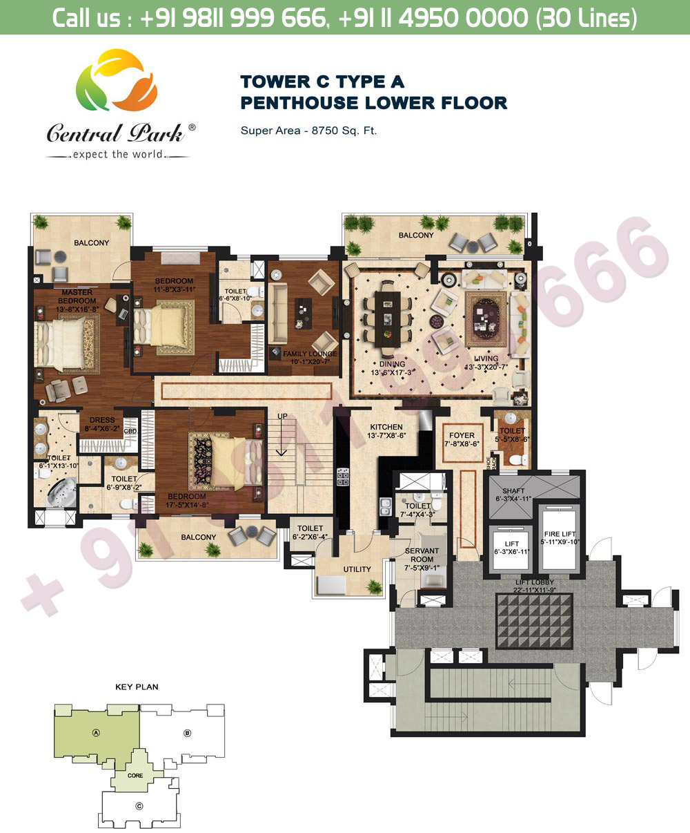 Tower - C, Type - A, Penthouse Lower Floor:  8750 Sq. Ft