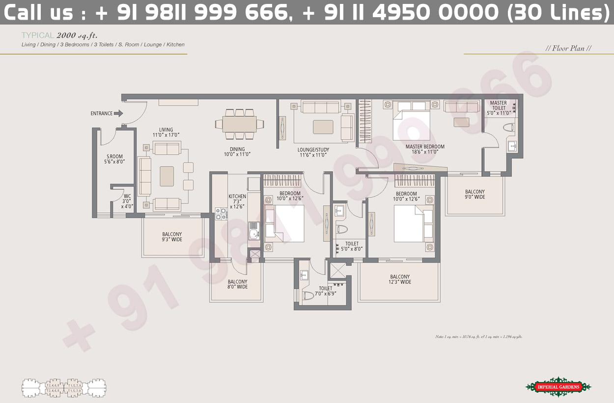 Typical Floor Plan 1 : 2000 Sq.Ft.