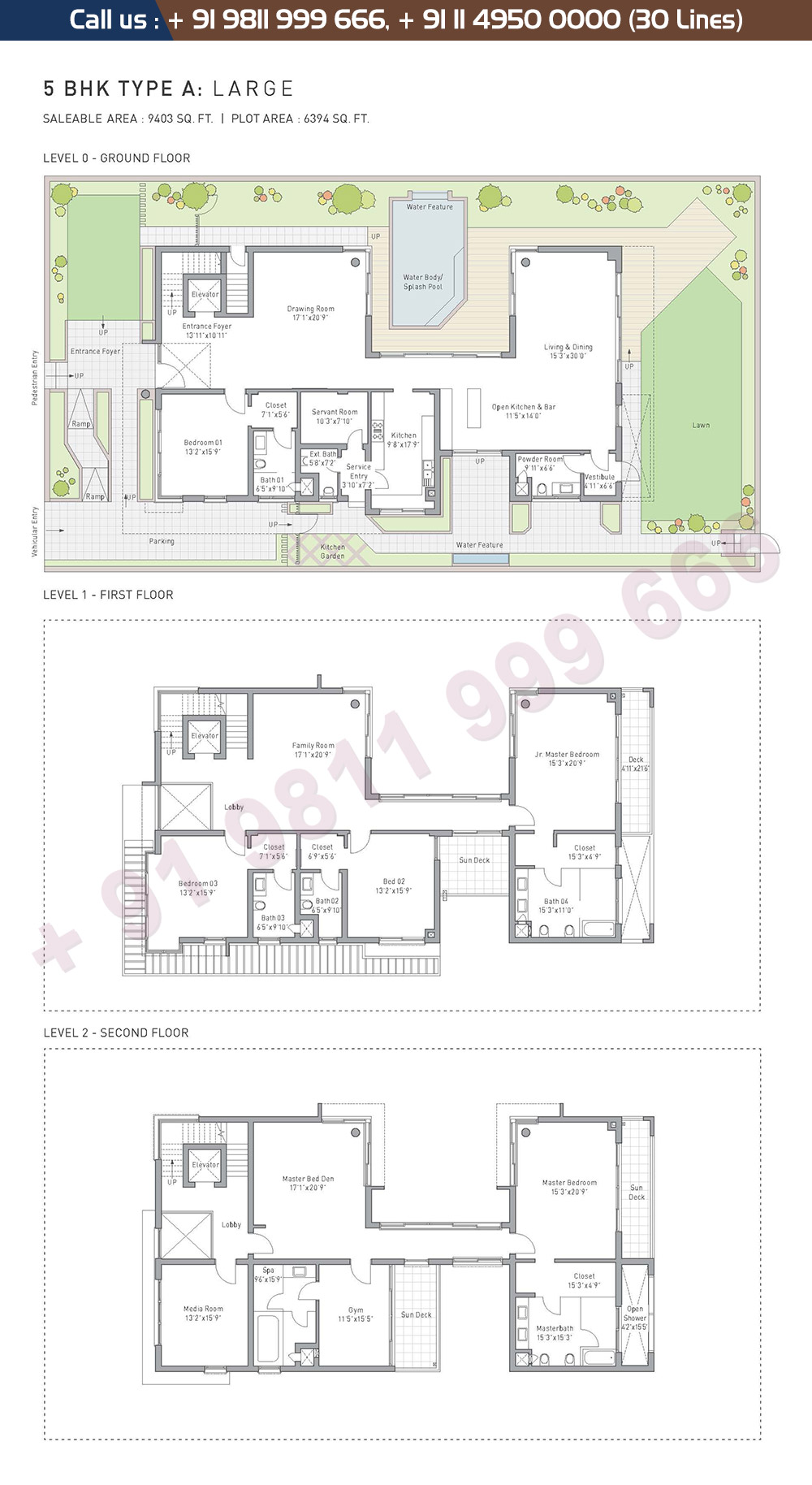 5 BHK Type A Large : 9403 Sq.Ft.