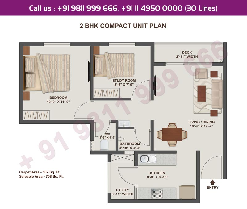 2 BHK Compact Unit Plan : 708 Sq.Ft.