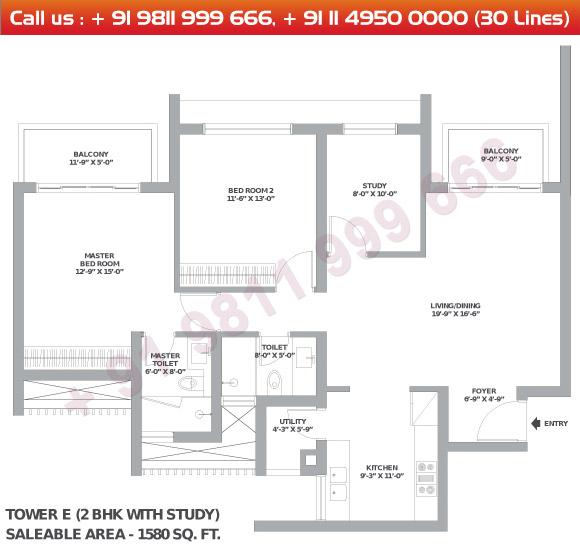 2 BHK + Study Floor Plan : 1580 Sq.Ft.