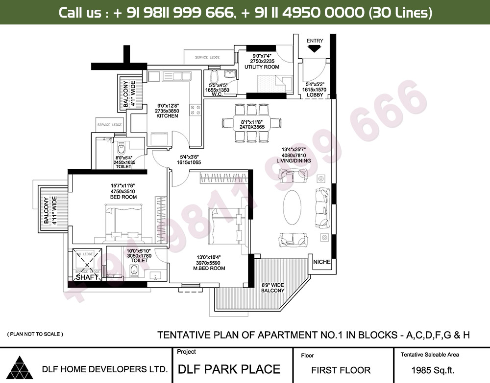 2 BHK + SR: 1985 Sq.Ft