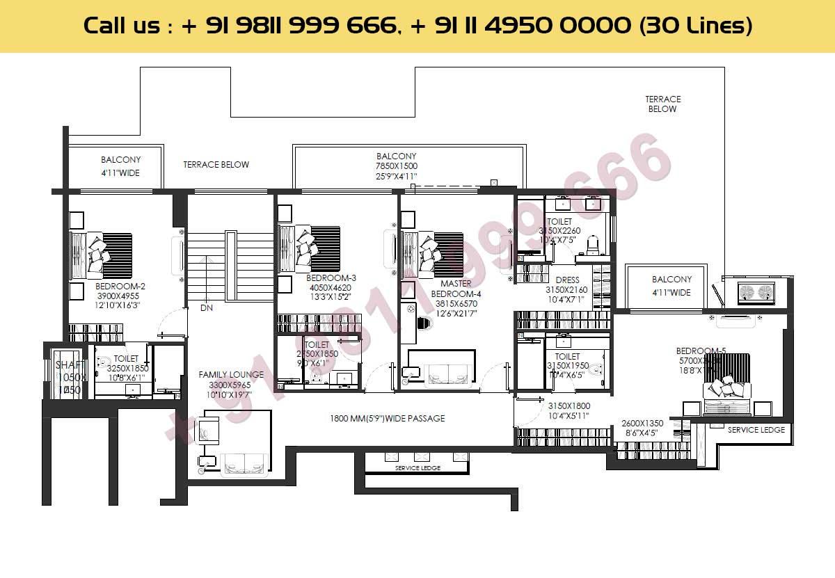 Upper Level Layout : 6137 Sq.Ft