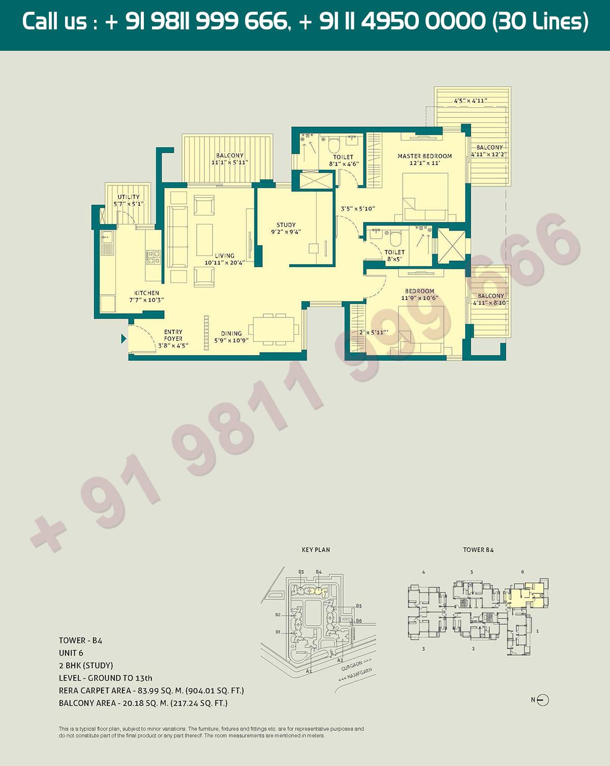 2 BHK - (Study), Level Ground to 13, Unit - 6