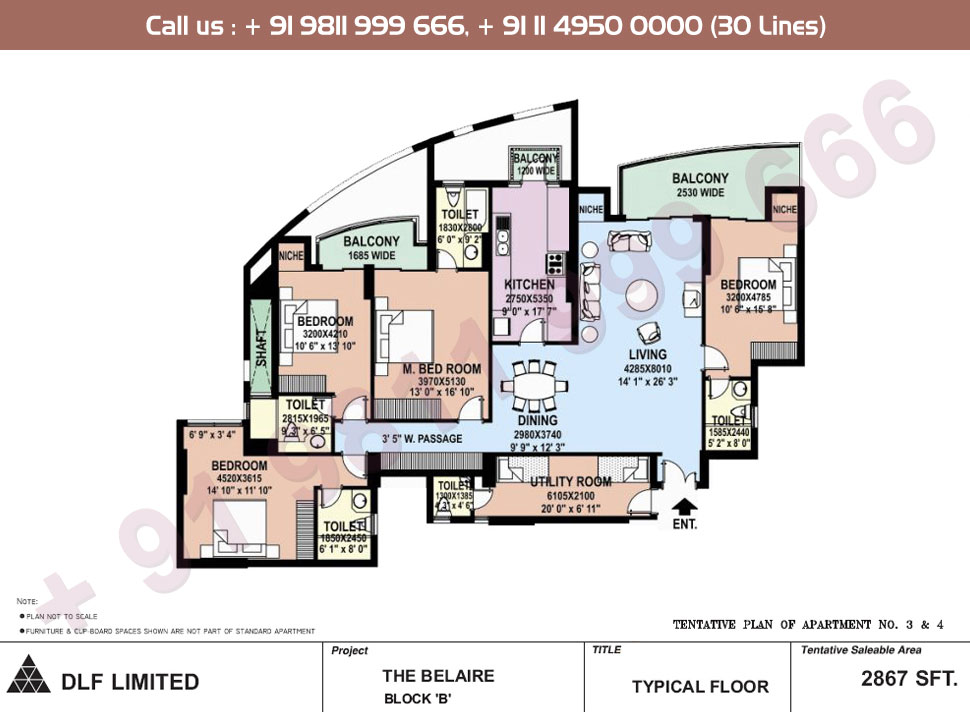 Block B Apartment No. 3 & 4 Floor Plan : 2867 Sq.Ft.