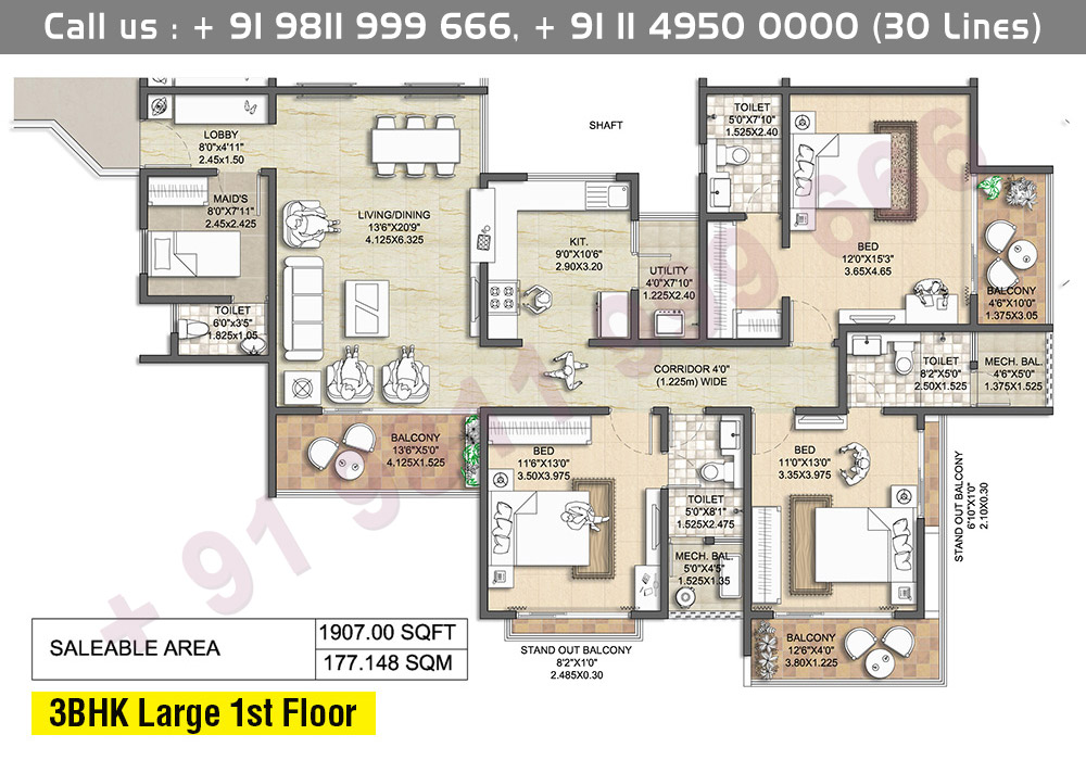3 BHK Large 1st Floor: 1907 Sq.Ft.