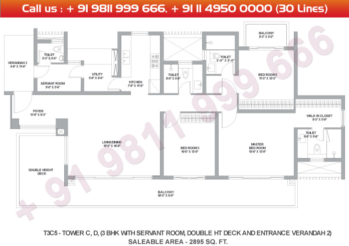 Tower C & D 3 BHK Large Type 3C5 : 2895 Sq.Ft.
