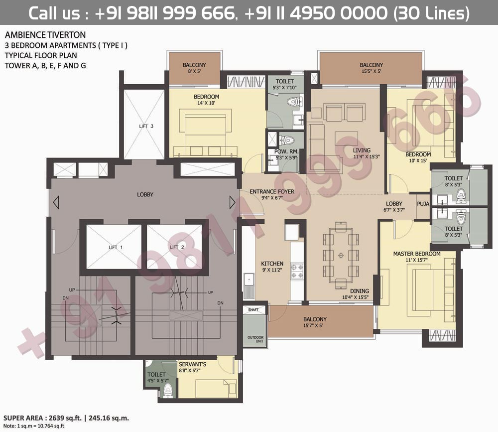 3BHK Type I : 2639 Sq.Ft