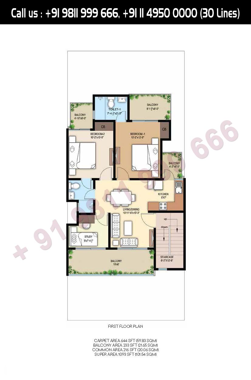 First Floor Plan Total Super Area: 1093 Sq. Ft.