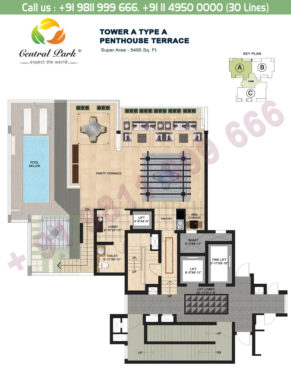 Tower - A, Type - A, Penthouse Terrace Floor:  5495 Sq. Ft