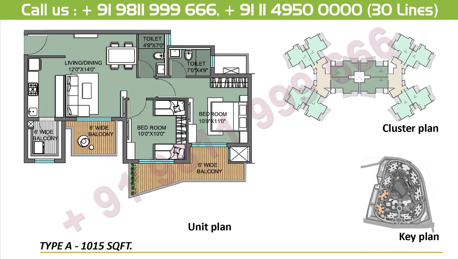 2 BHK, Type A: 1015 Sq.Ft.