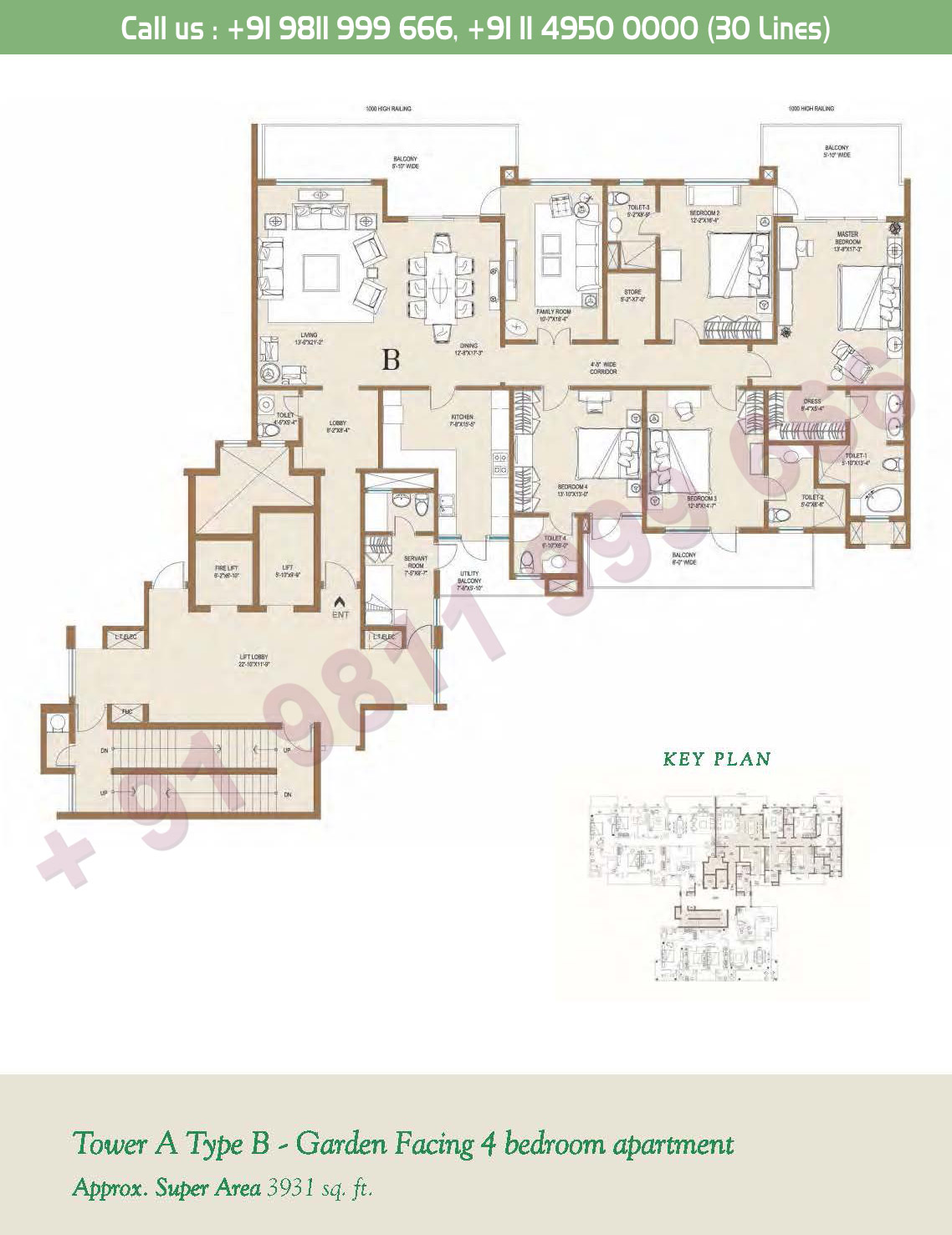 Tower - A, Type - B, 4BHK: 3931 Sq. Ft