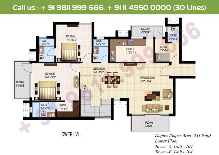 5 BHK + S Duplex Lower Floor : 3312 Sq.Ft.