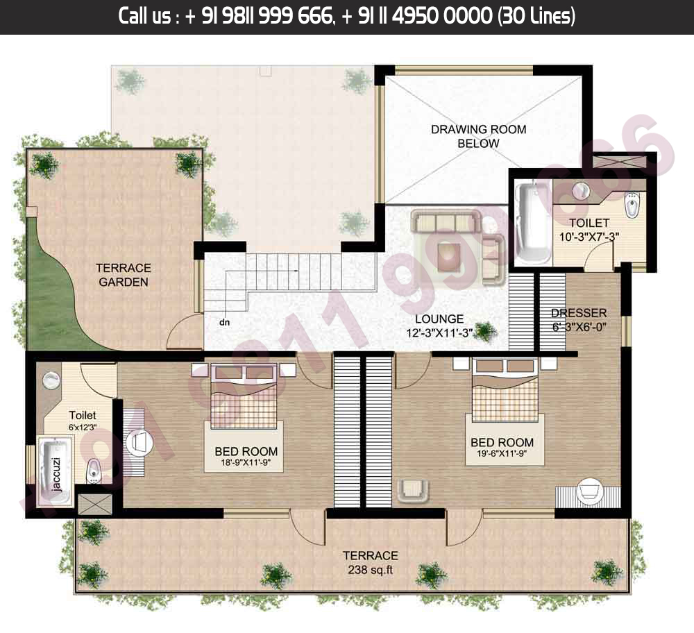 Upper Level, 4 Bed + Servant, Type: A