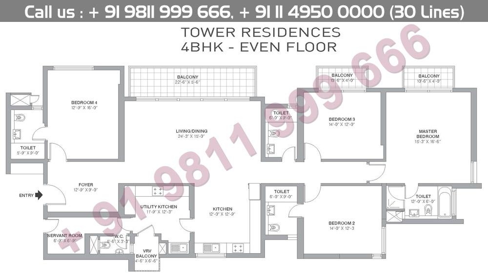 4 BHK Even Floors