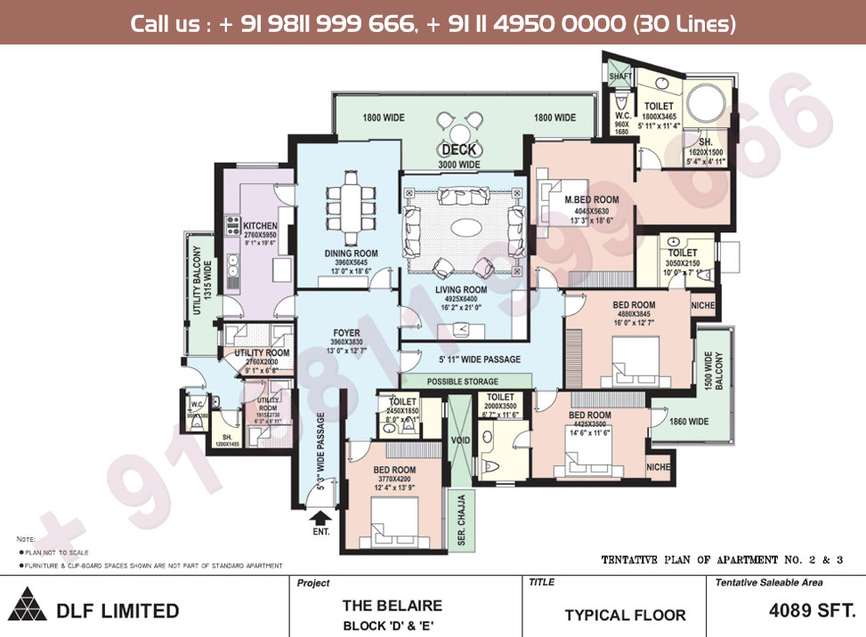 Block D, E Apartment No. 2&3 Floor Plan : 4089 Sq.Ft.