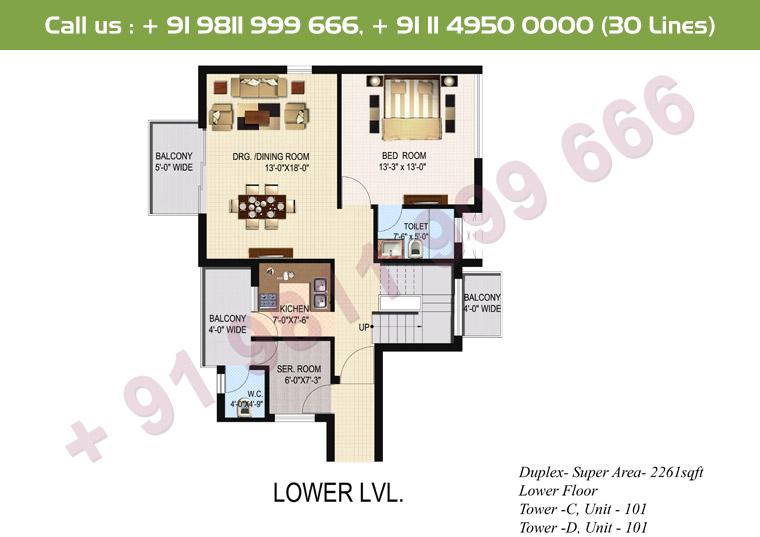 4 BHK+ S Duplex Lower Floor : 2261 Sq.Ft.