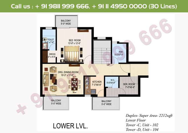 4 BHK+ S Duplex Lower Floor : 2212 Sq.Ft.