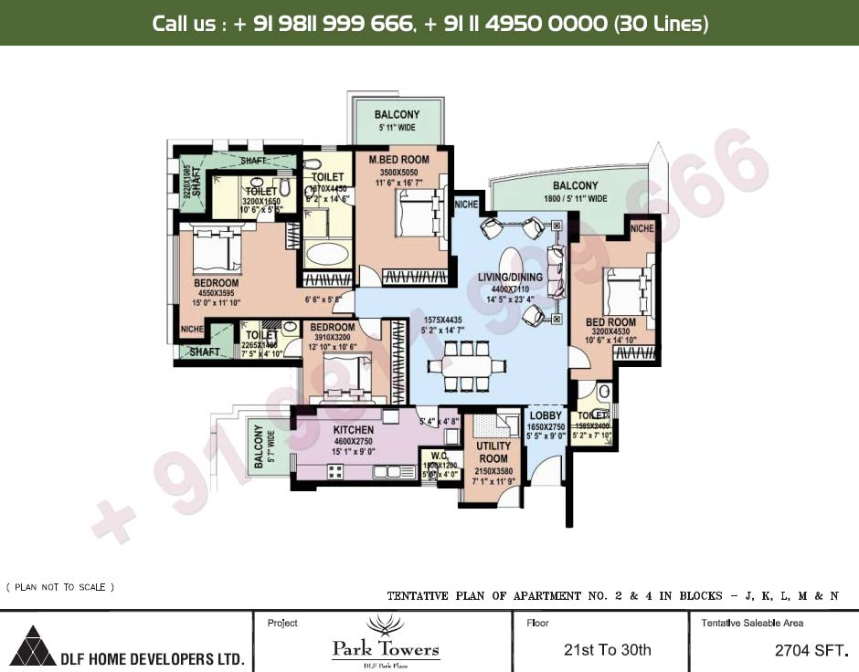 4 BHK Apartment No. 2 & 4 21st - 30th Floor : 2704 Sq.Ft.