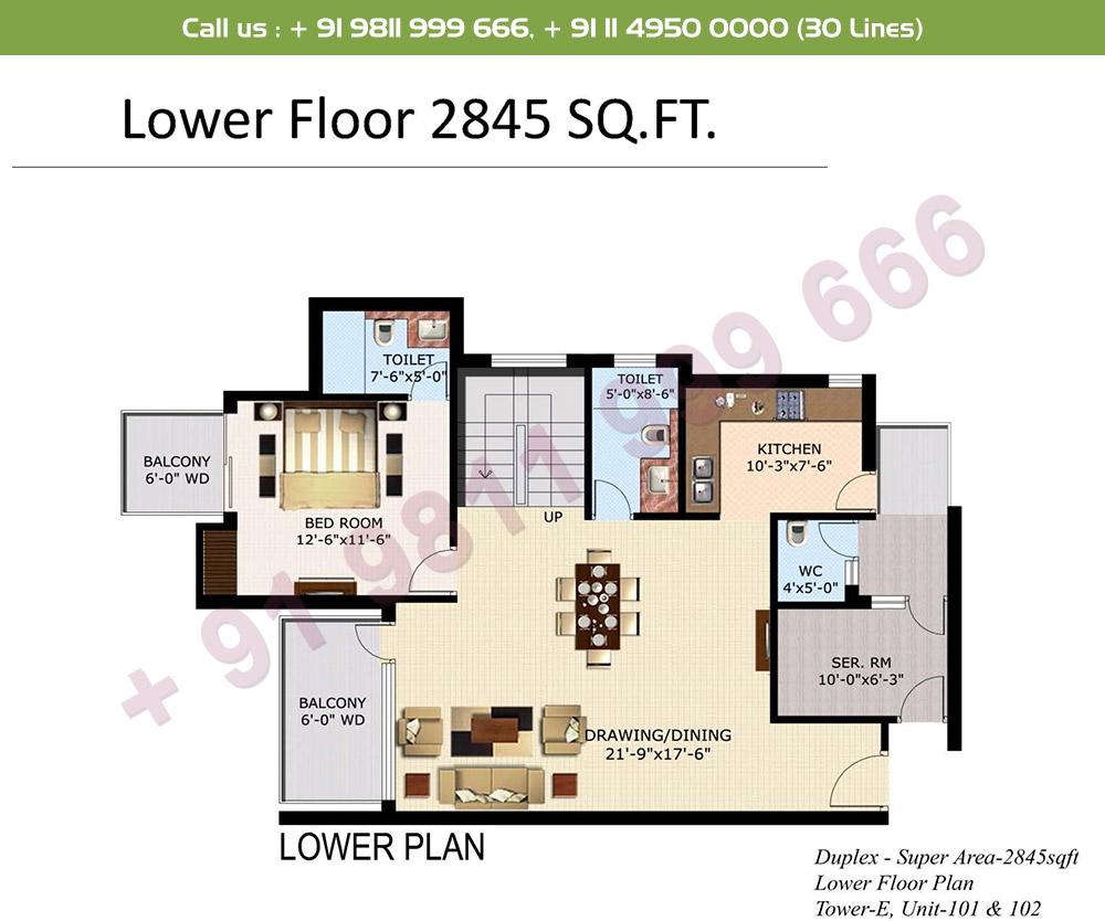 4 BHK+ S Duplex Lower Level : 2845 Sq.Ft.