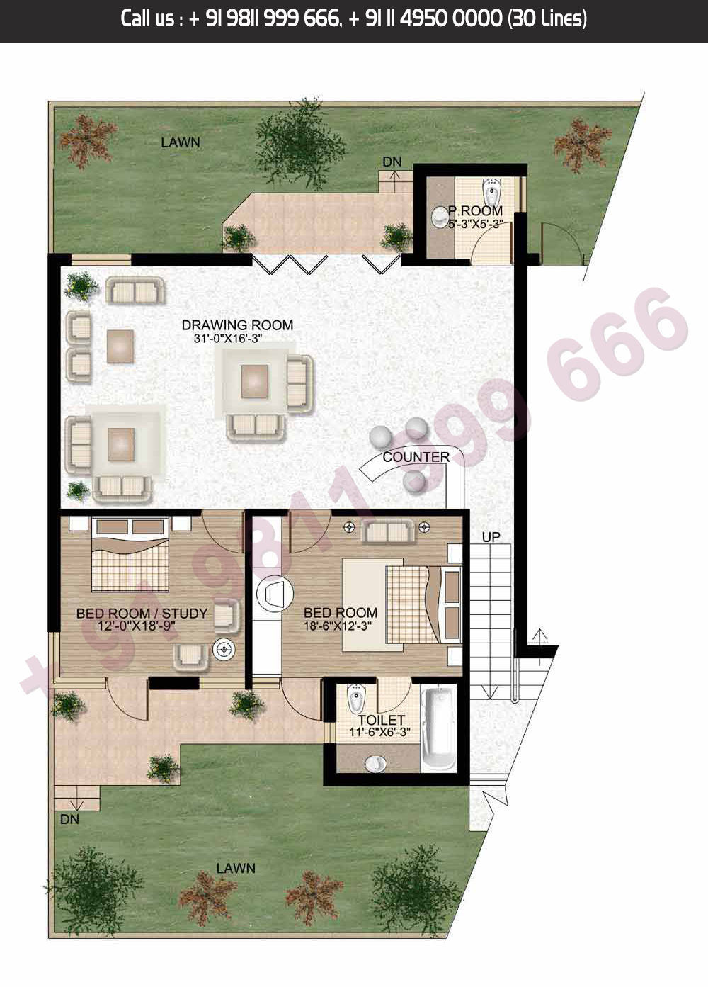 Lower Level, 5 Bed + Servant, Saleable Area: 3319.91 + 1100.19 Terrace