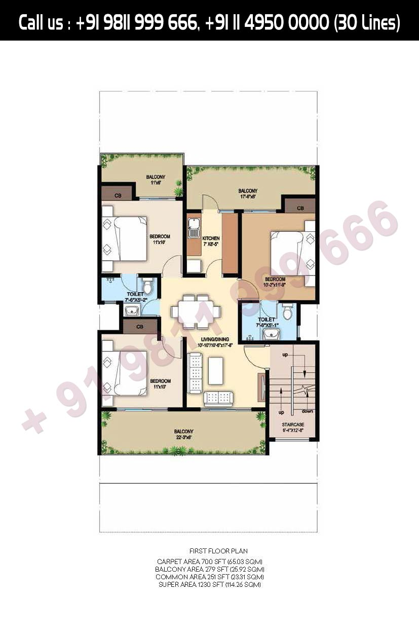 First Floor Plan Total Super Area- 1230 Sq. Ft.