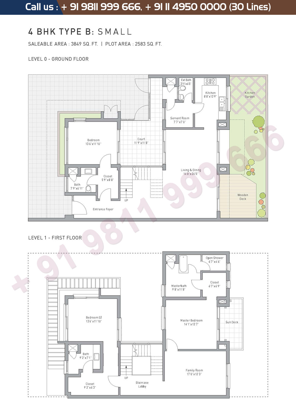 4 BHK Type B Small: 3849 Sq.Ft.