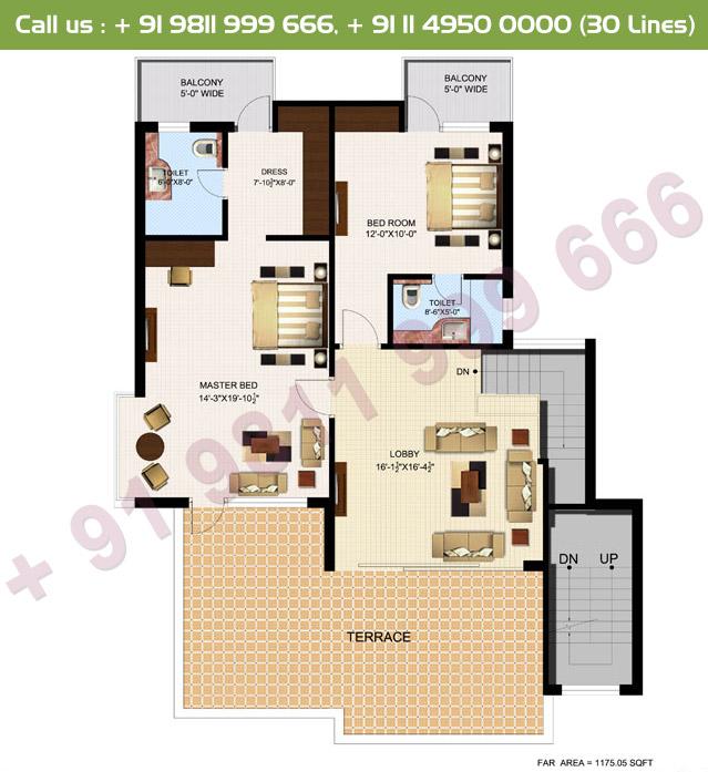 Executive 1, 2 & 3 Duplex Upper Floor Plan