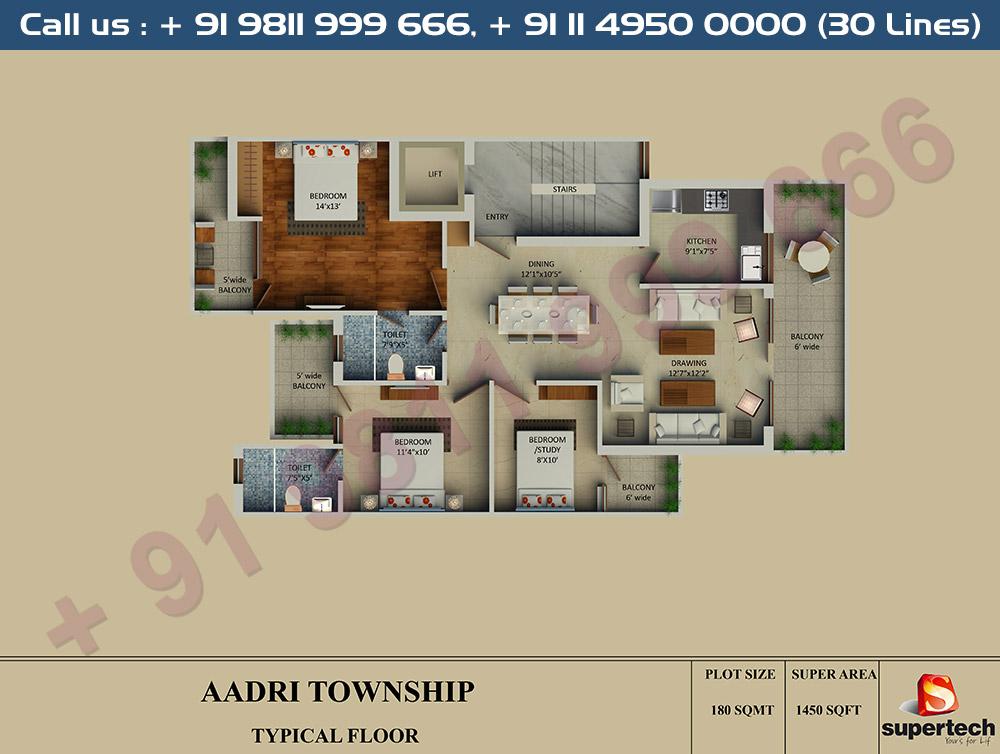 3 BHK Floor Plan : 1450 Sq.Ft.