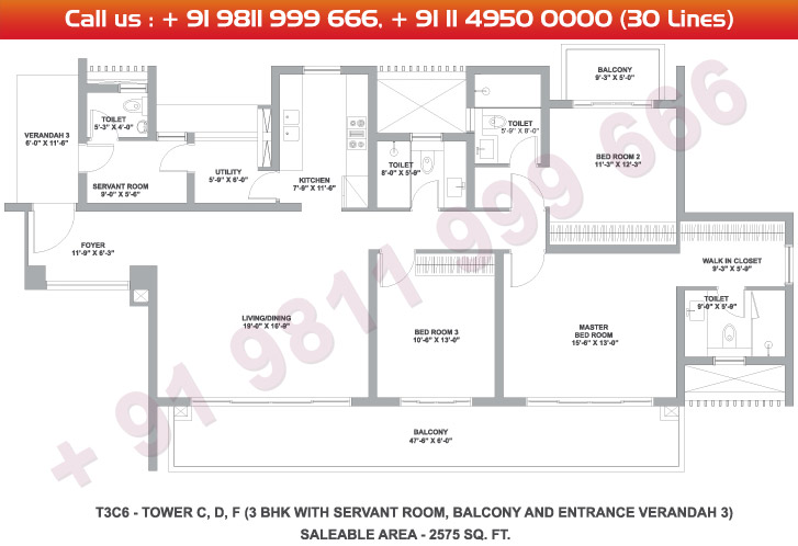 Tower C, D & F 3 BHK Large Type 3C5 : 2575 Sq.Ft.