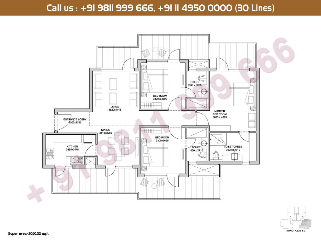3 BHK Floor Plan: 2050 Sq.Ft.