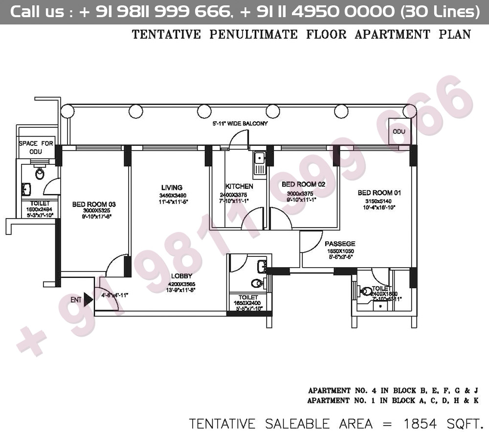 Tentative Penultimate Floor Apartment Plan : 1854 Sq.Ft.