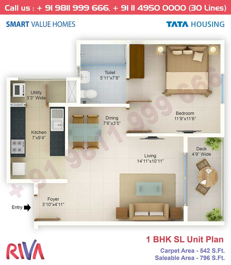 1 BHK SL Unit: 796 Sq.Ft.