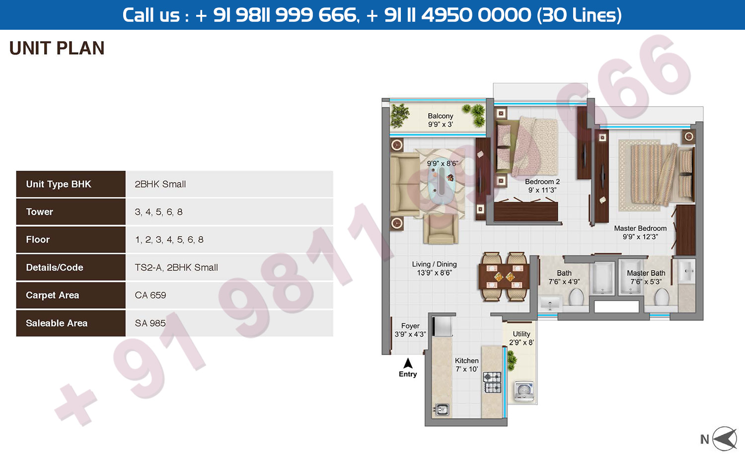 2 BHK Small Type A : 985 Sq.Ft.
