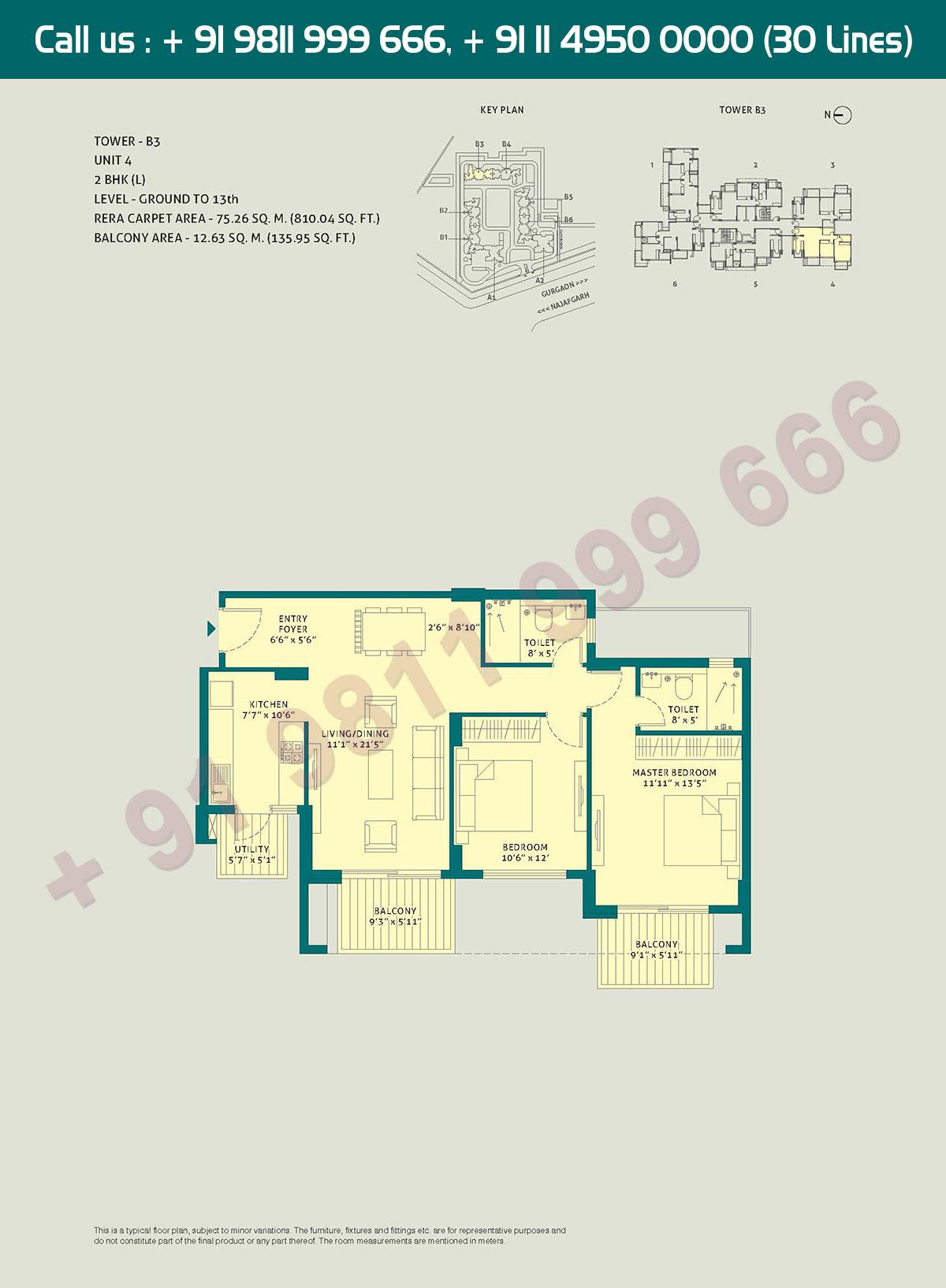 2 BHK - (L), Level Ground to 13, Unit - 4