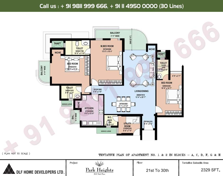 3 BHK 21st - 30th Floors : 2329 Sq.Ft.