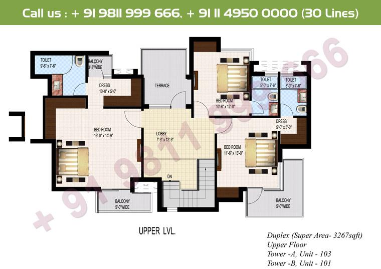 5 BHK + S Duplex Upper Floor : 3267 Sq.Ft.