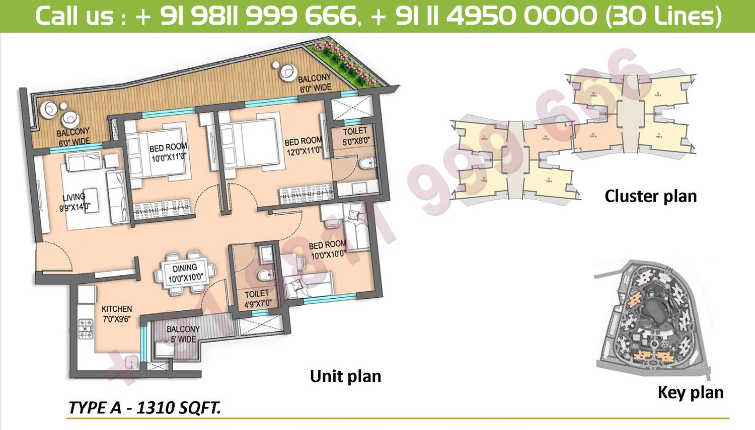 3 BHK, Type A: 1310 Sq.Ft.