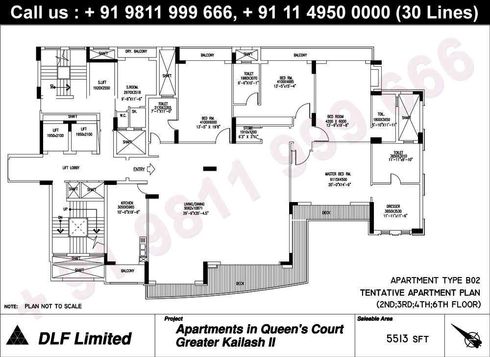 Apartment Type B02 (2nd to 4th & 6th Floor) : 5513 Sq.Ft.