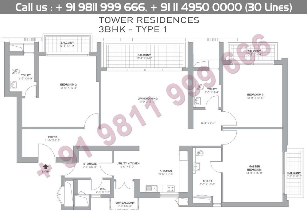 3 BHK Type 1 Floor Plan