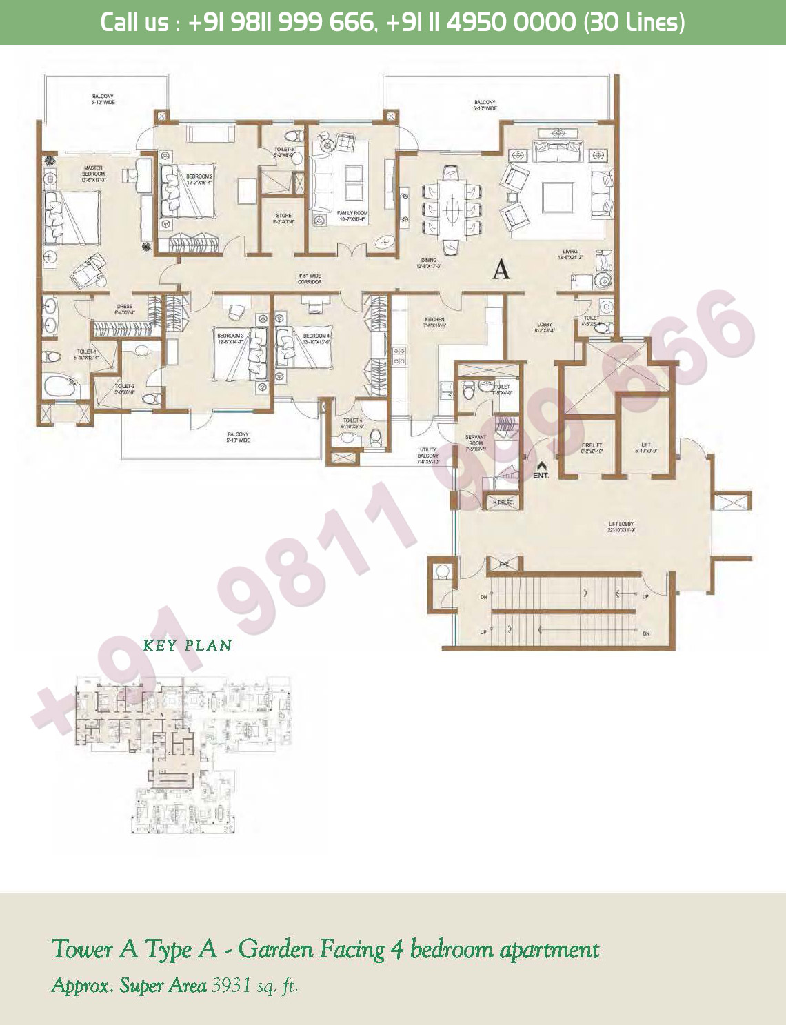 Tower - A, Type - A, 4BHK: 3931 Sq. Ft