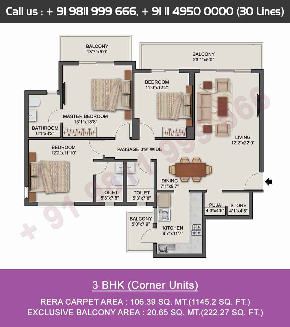 3 BHK  - Corner Units
