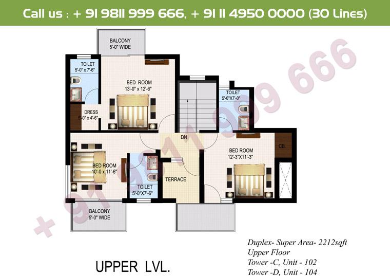 4 BHK+ S Duplex Upper Floor : 2212 Sq.Ft.